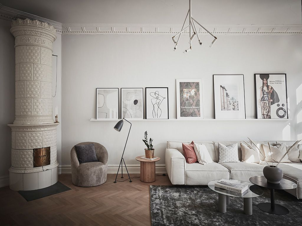 Modern living room with zz plant