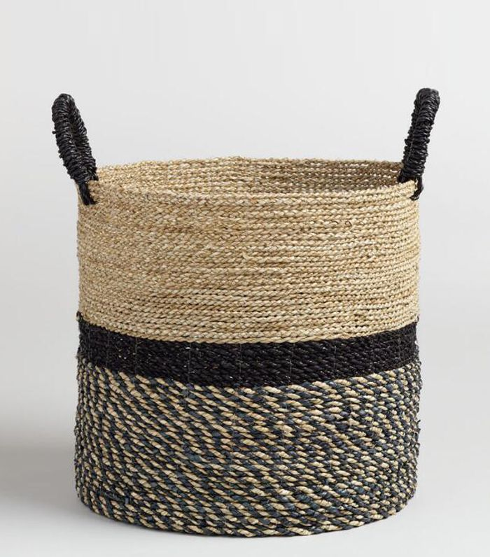 Large Black and Natural Seagrass Calista Tote Basket by World Market