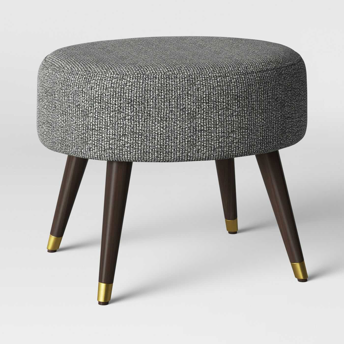 Farwell Oval Ottoman with Gold Caps