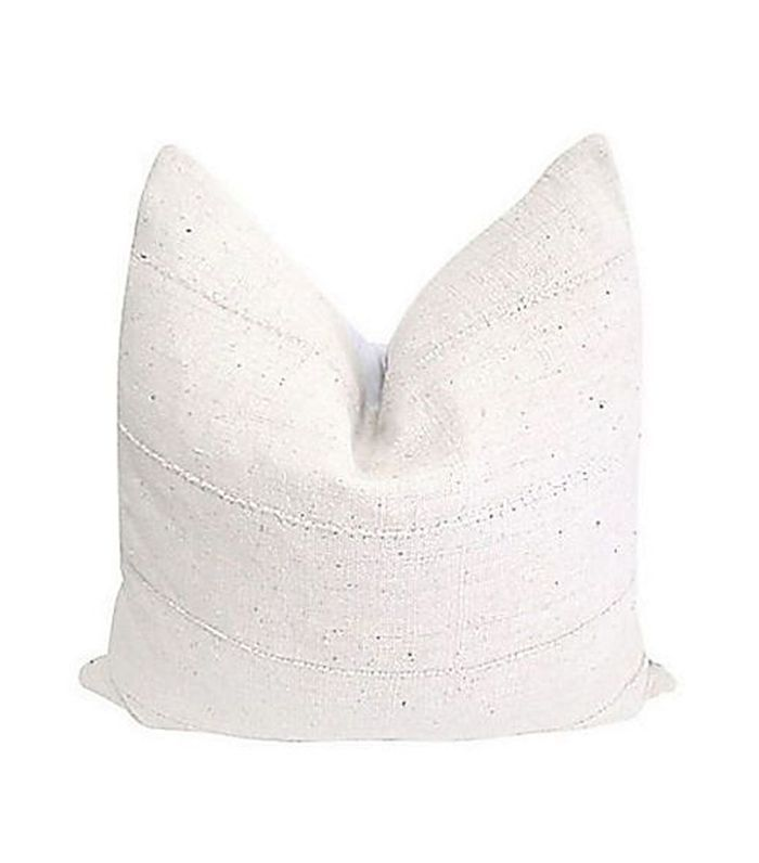 Fragments Identity French Linen & White Chenille Pillow