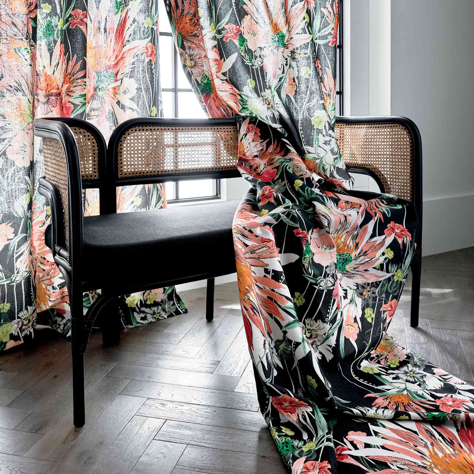 CB2 2021 Design Trends - bench with patterned curtains