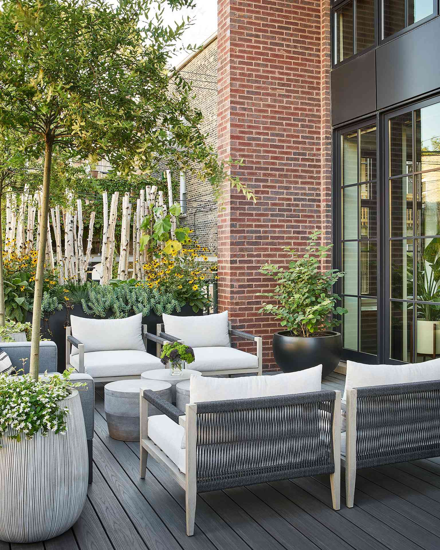 apartment patio with natural borders