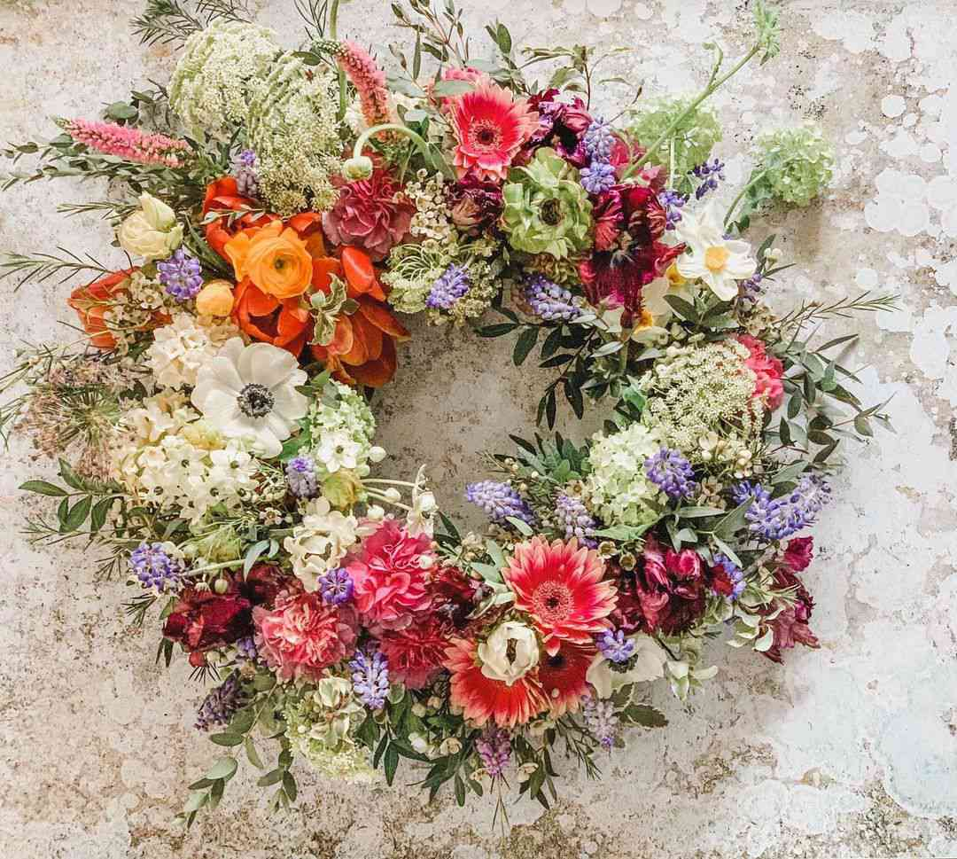 Amanda Jane Flowers spring floral wreath.