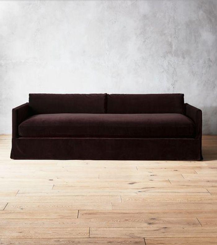 CB2 Delphine Mocha Velvet Slipcover Sofa