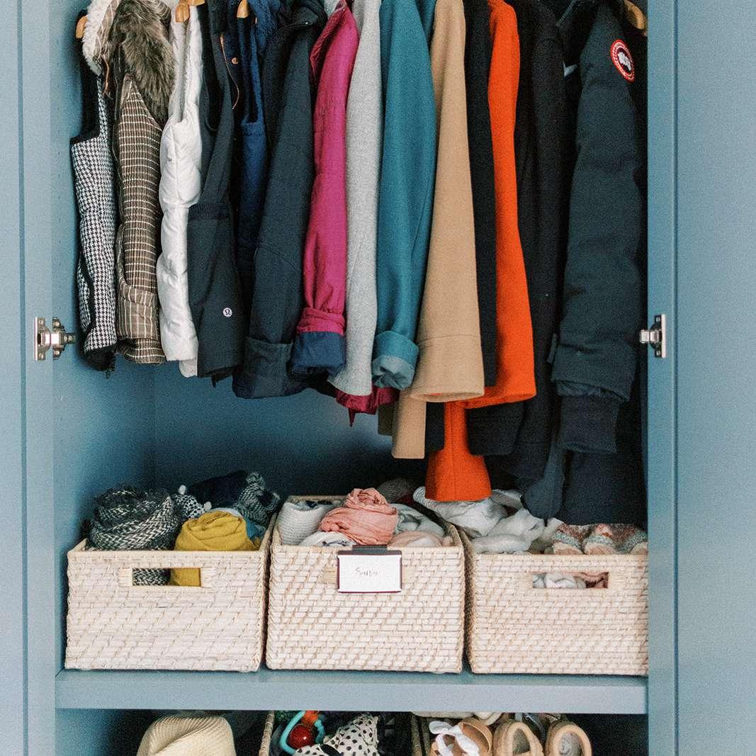 hall closet with tight storage