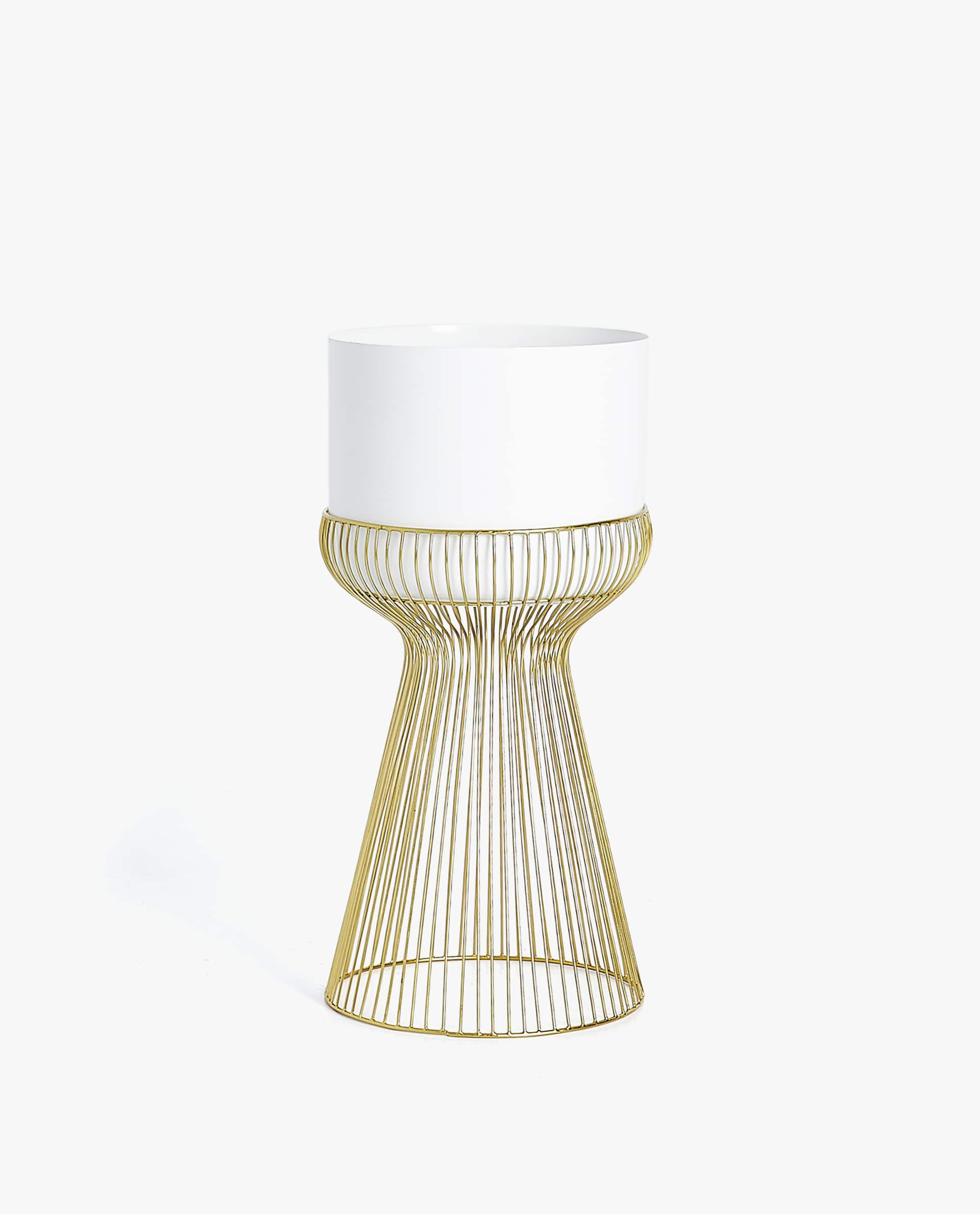 White Flowerpot with Gold Wire Stand