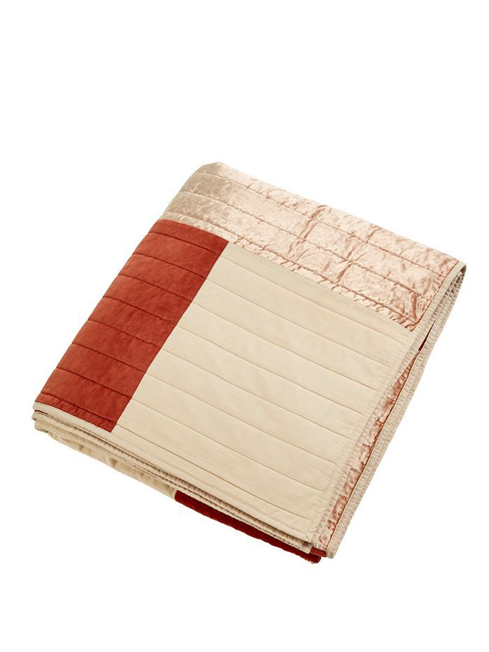 Project 62 Coral Patchwork Velvet Quilt in Full/Queen