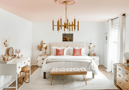 Soft bedroom with pink ceiling and accents.
