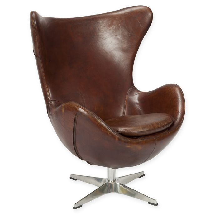 St Anee Leather Swivel Club Chair