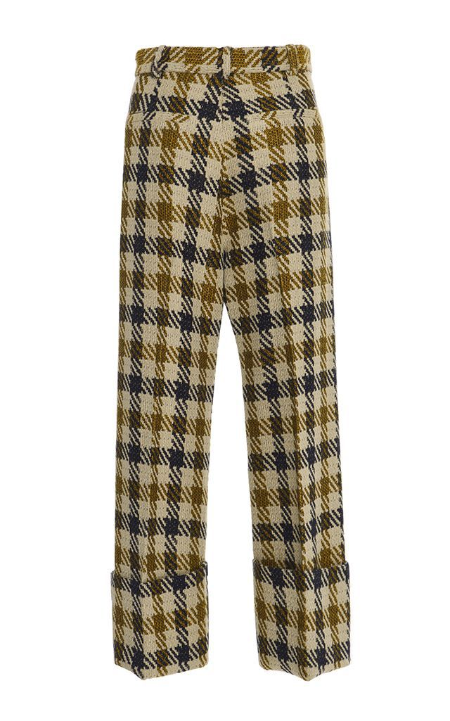 Sea Houndstooth Wool Cuffed Pant