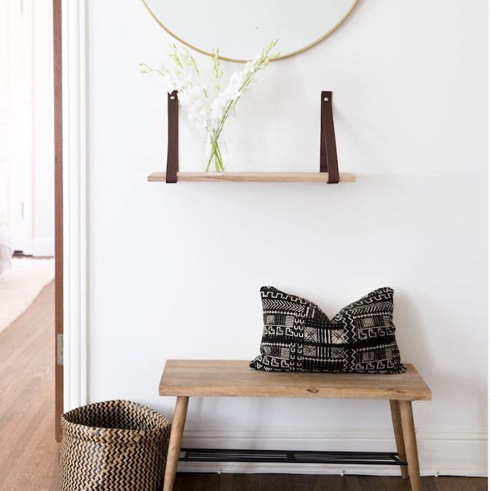 entryway with mirror, leather strap shelf, bench and shoe rack, basket to the side