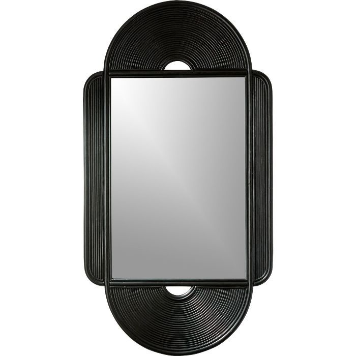 CB2 Iris Black Large Rattan Mirror