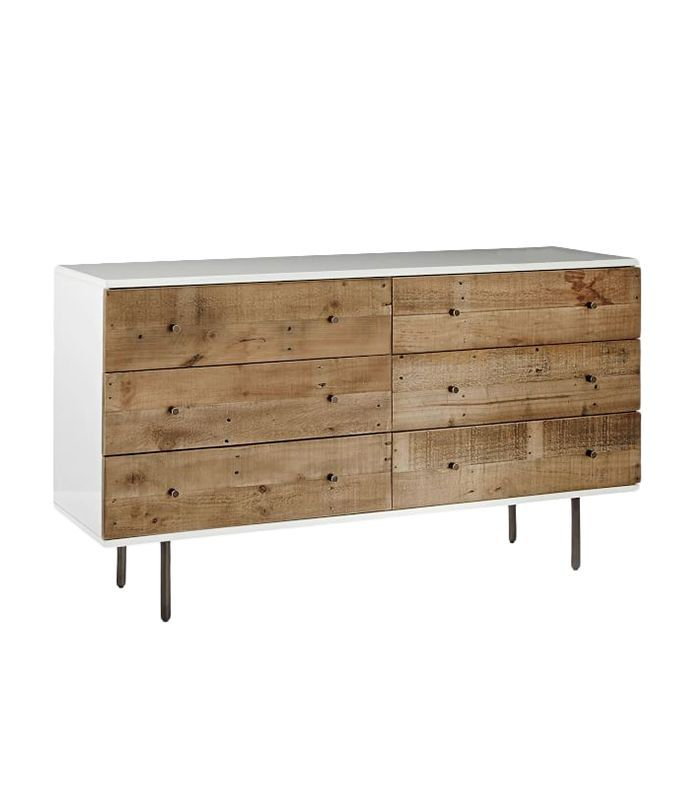 Reclaimed Wood + Lacquer Storage 6-Drawer Dresser