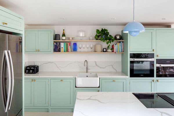mint green shaker cabinets