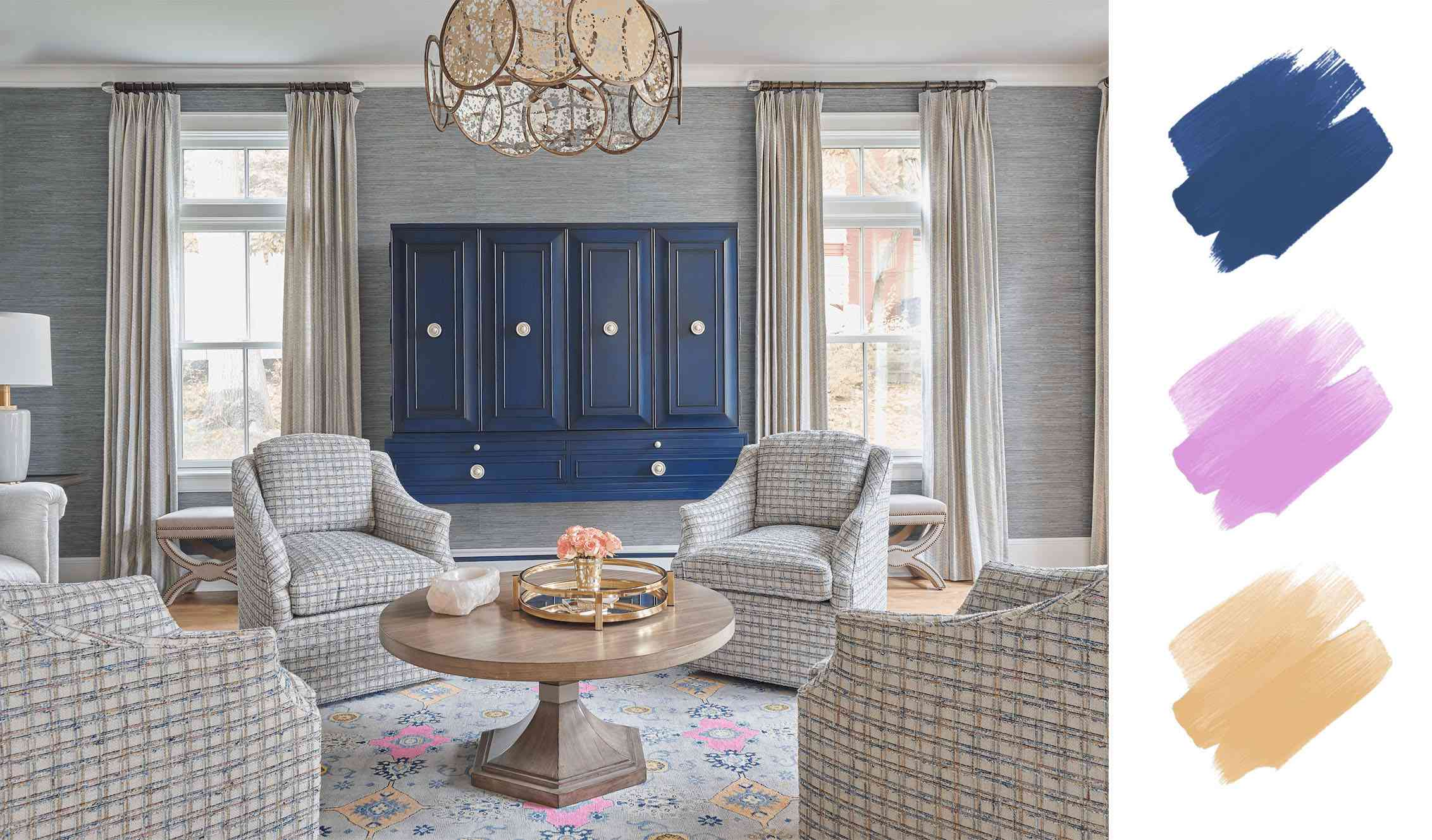 best interior color schemes - blue and neons