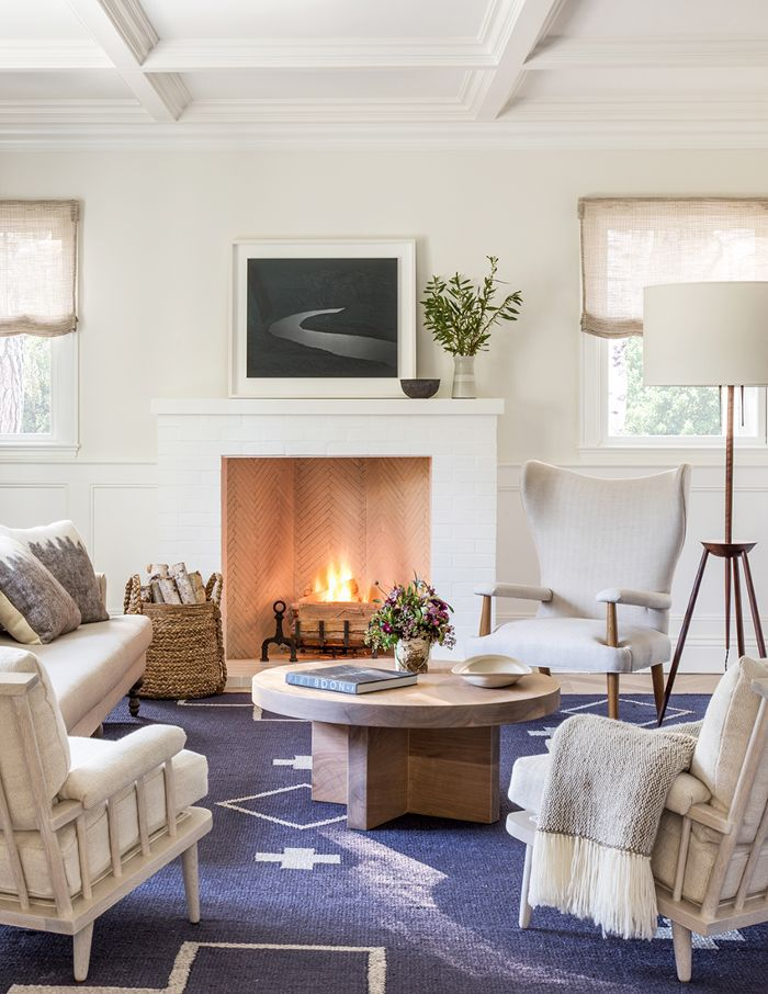 Blue and White Living Room with Fireplace