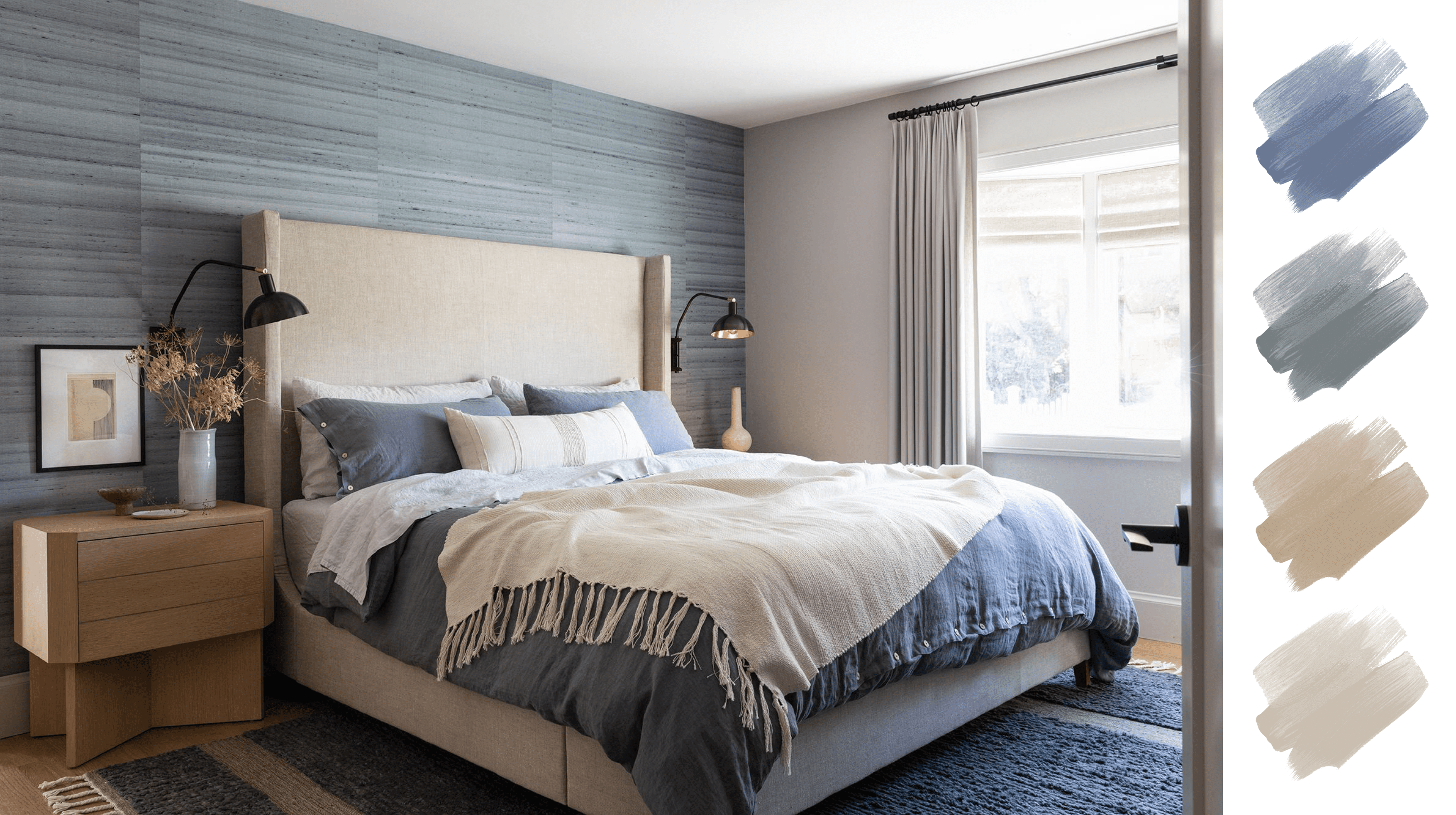 best home color palettes - blue, gray, white, tan bedroom