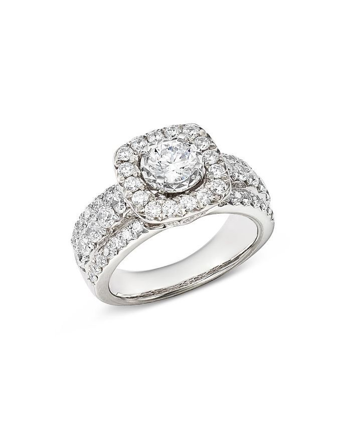 Diamond Halo Engagement Ring in 14K White Gold, 1.45 ct. t.w. - 100% Exclusive