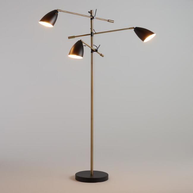 World Market Matte Black and Brass 3 Shade Articulating Floor Lamp