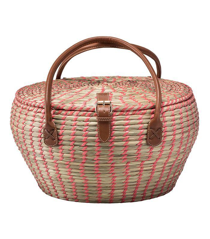 Target 12pc Woven Picnic Basket Set Brown/Pink