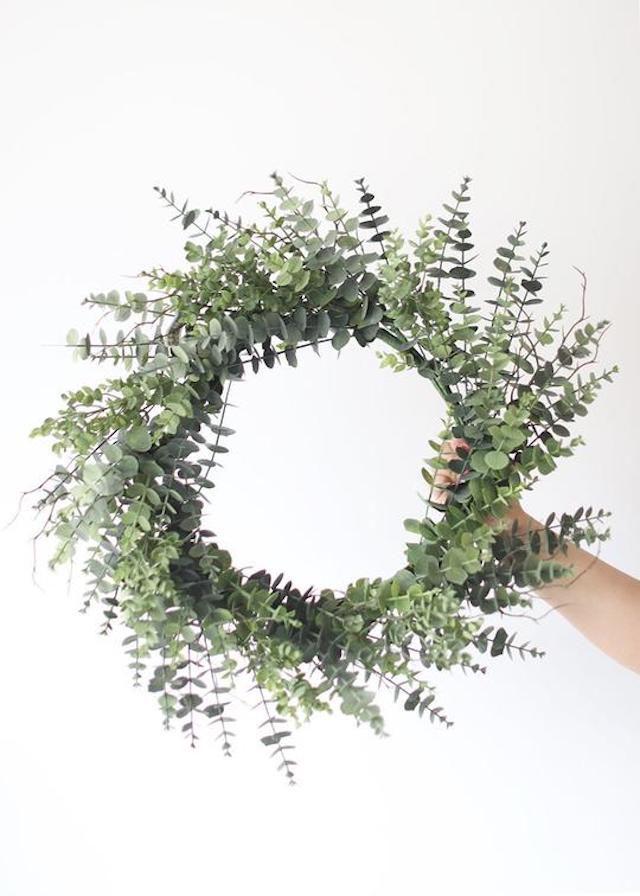 Large Outdoor Plastic Eucalyptus Leaf Wreath