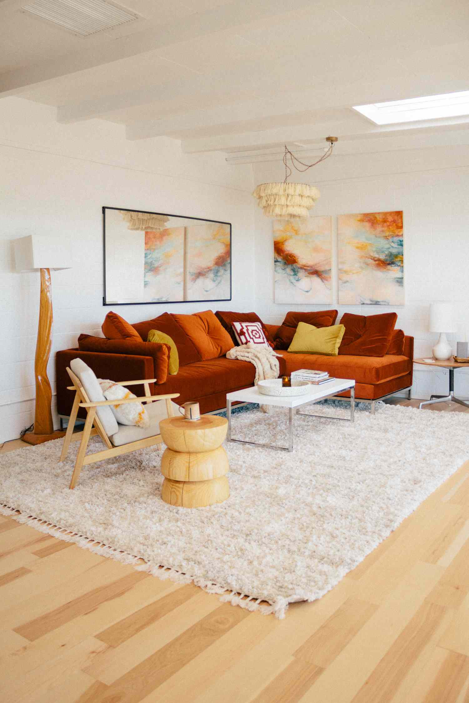 yellow accent living room