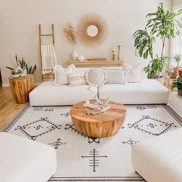 corn tree in a boho living room