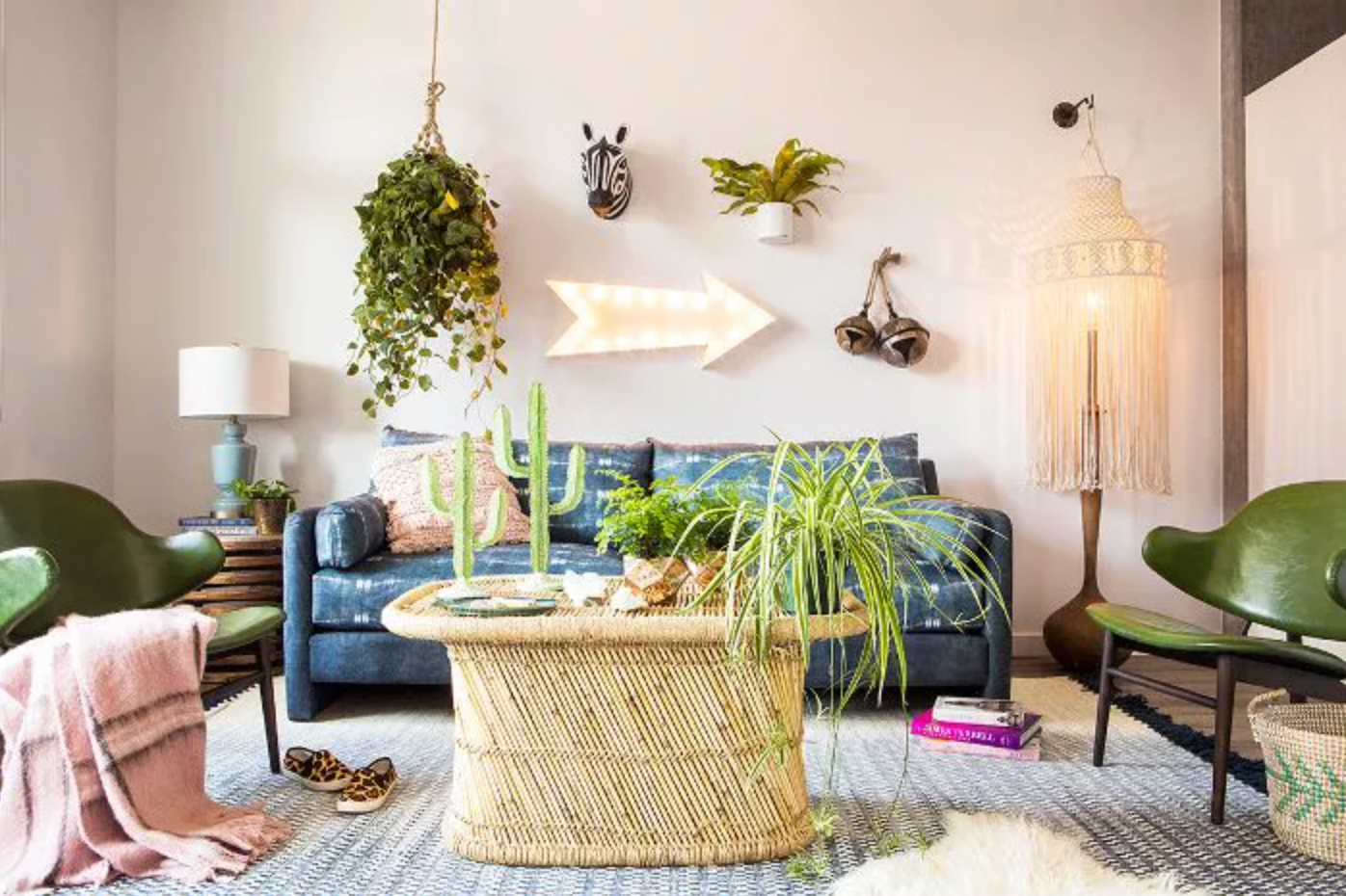 Bohemian-inspired living room with colorful furniture and plants