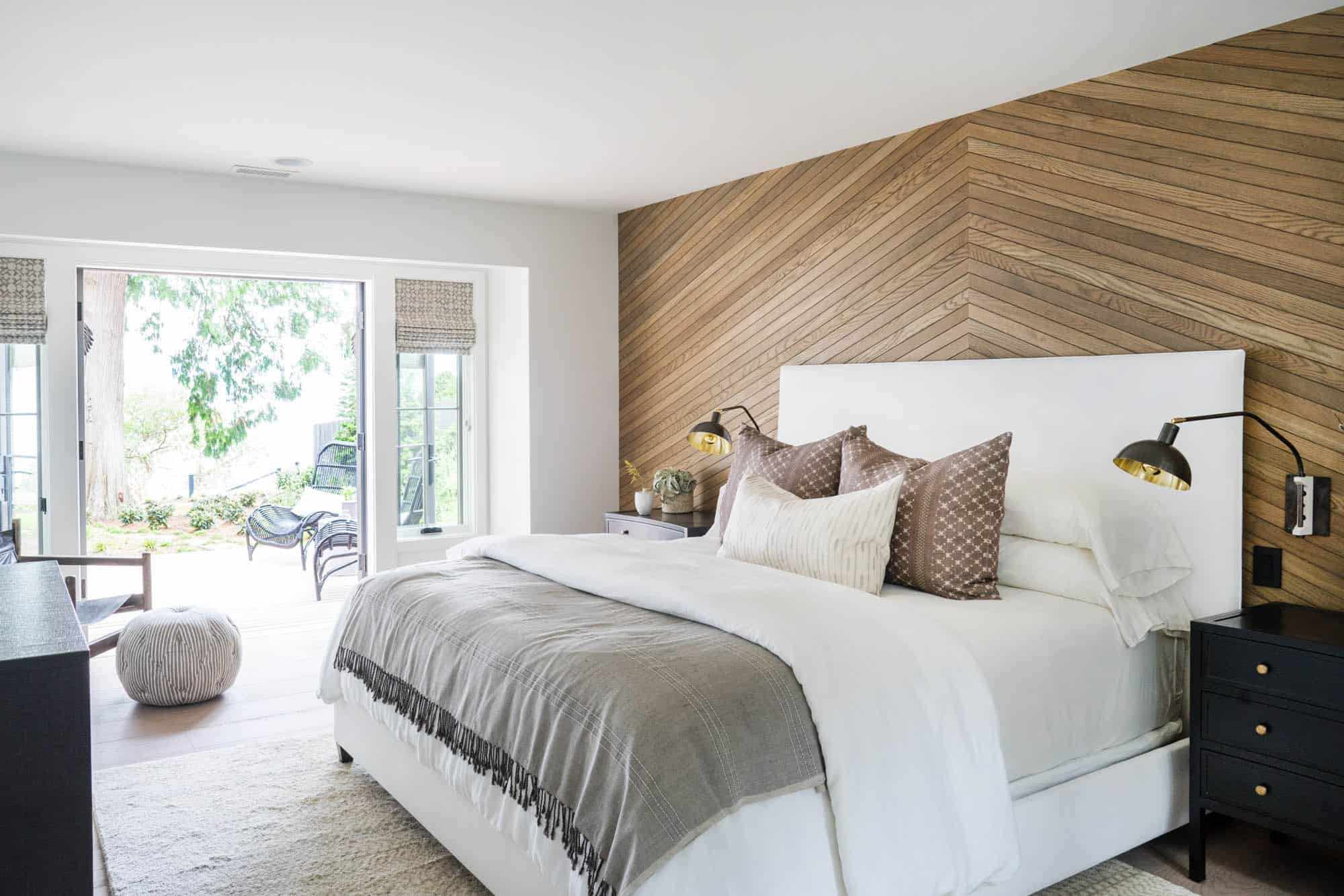 bedroom with wooden and earthy tones