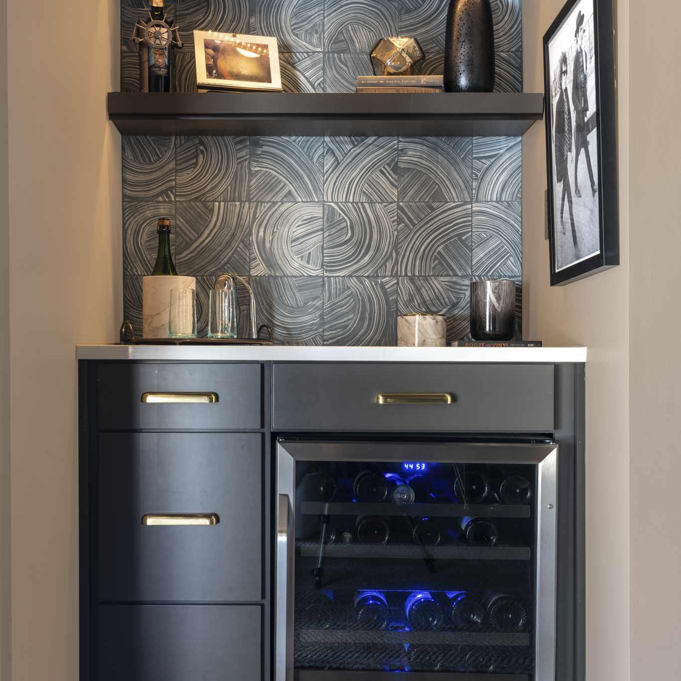 Mini wine fridge in small space