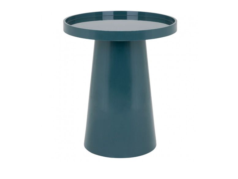 A round blue side table with a conical stand and removable round tray.