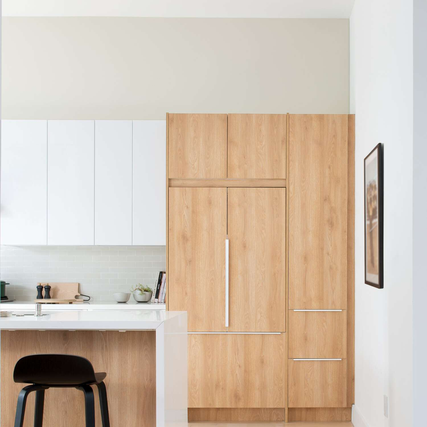 A wood-lined kitchen with IKEA cabinets