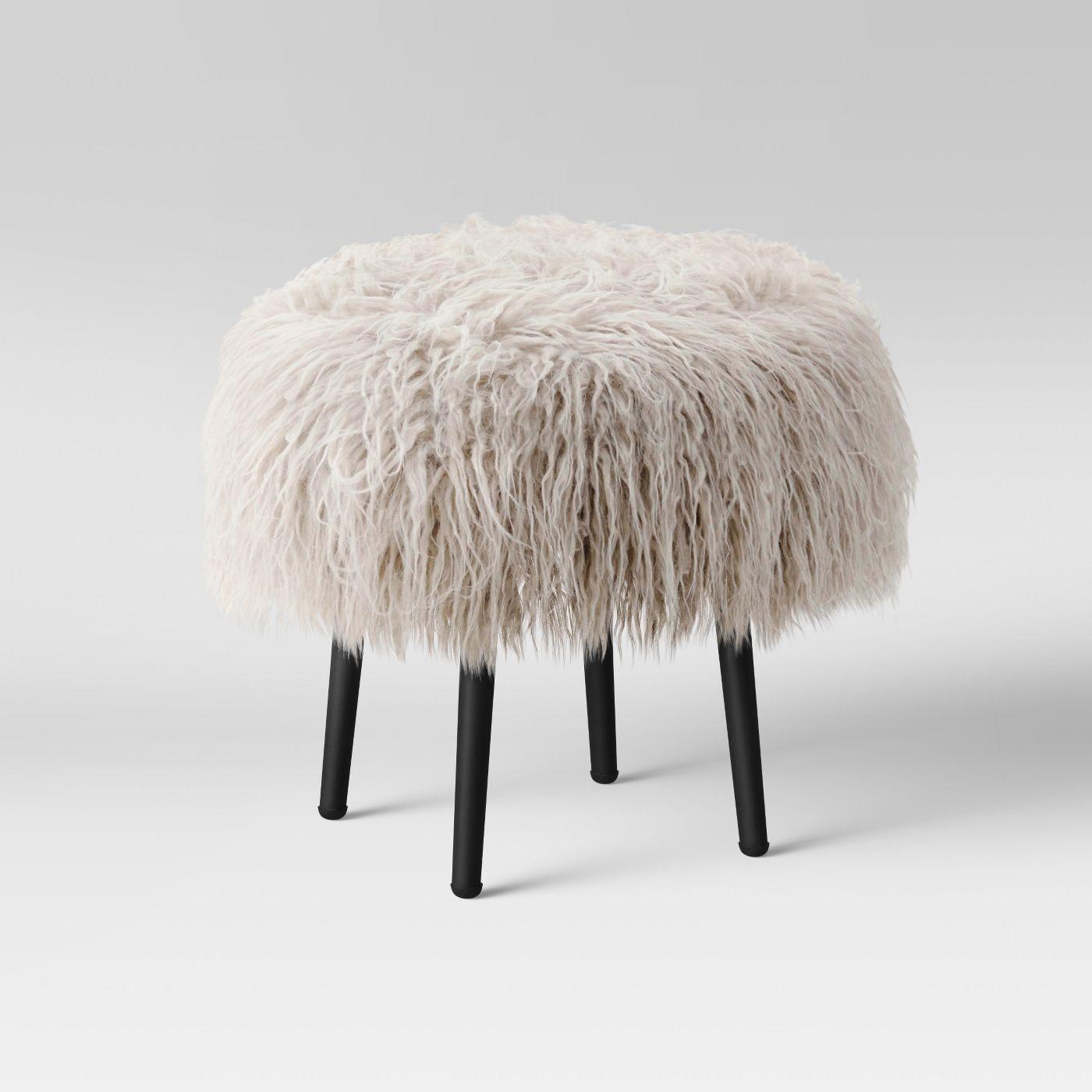 Manitoga Mongolian Faux Fur Stool