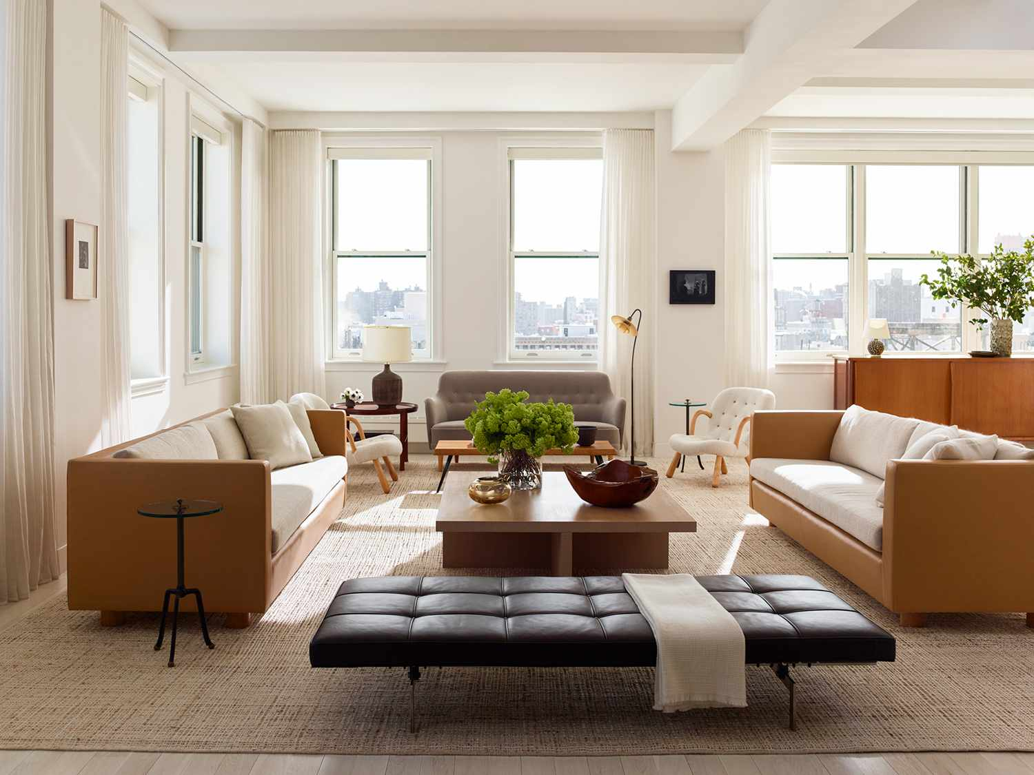 Modern living room with leather furniture
