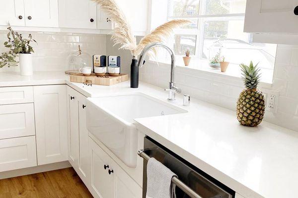 White kitchen with dishwasher