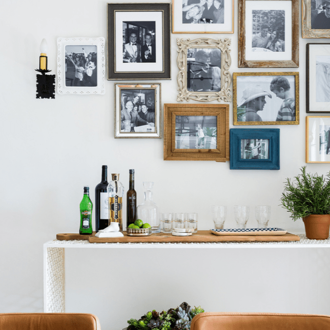 A gallery wall made up of family photos