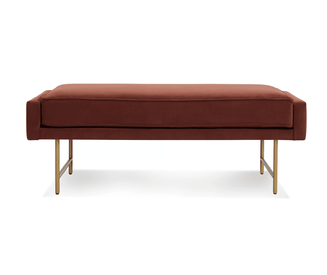 Bank Velvet Bench by Blue Dot in Mahogany Velvet