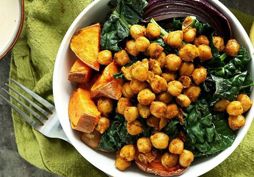 chickpea, sweet potato, and fresh kale bowl