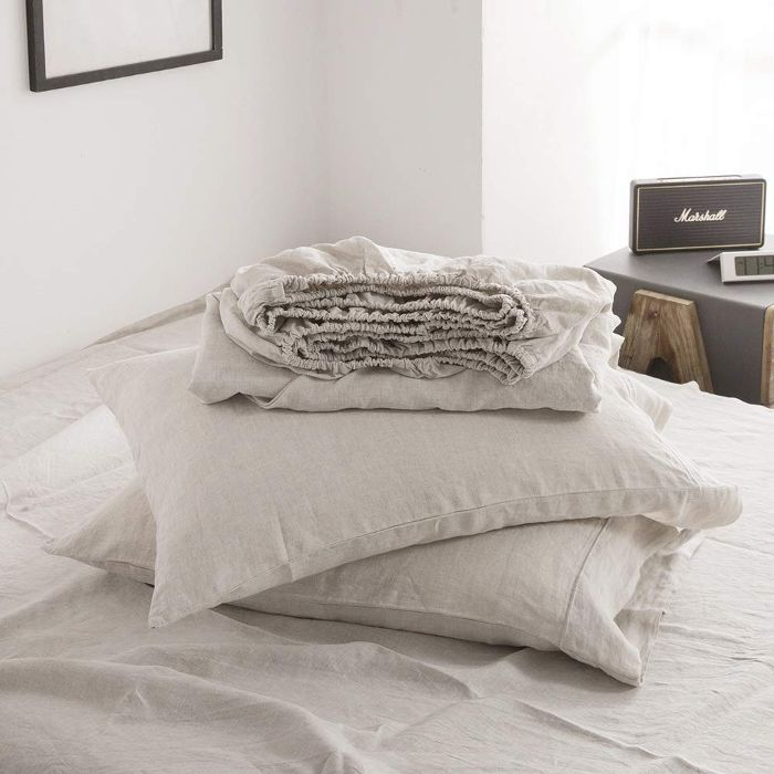 Simple & Opulence 100% Linen Sheet Set Embroidery Linen