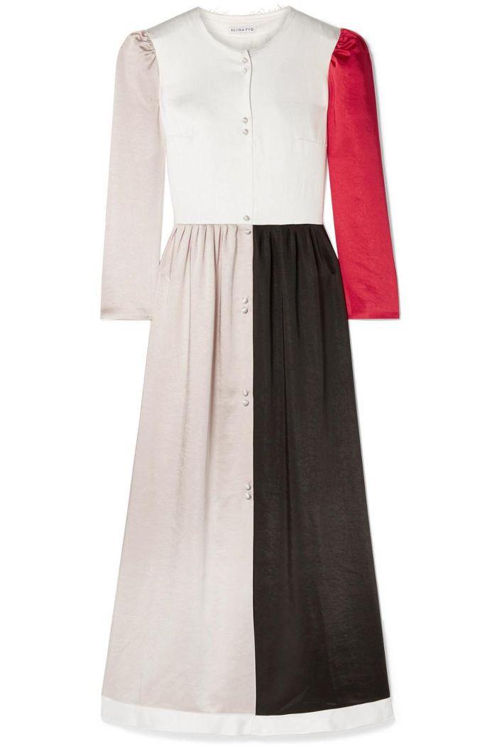 Quinn Color-block Washed-satin Maxi Dress