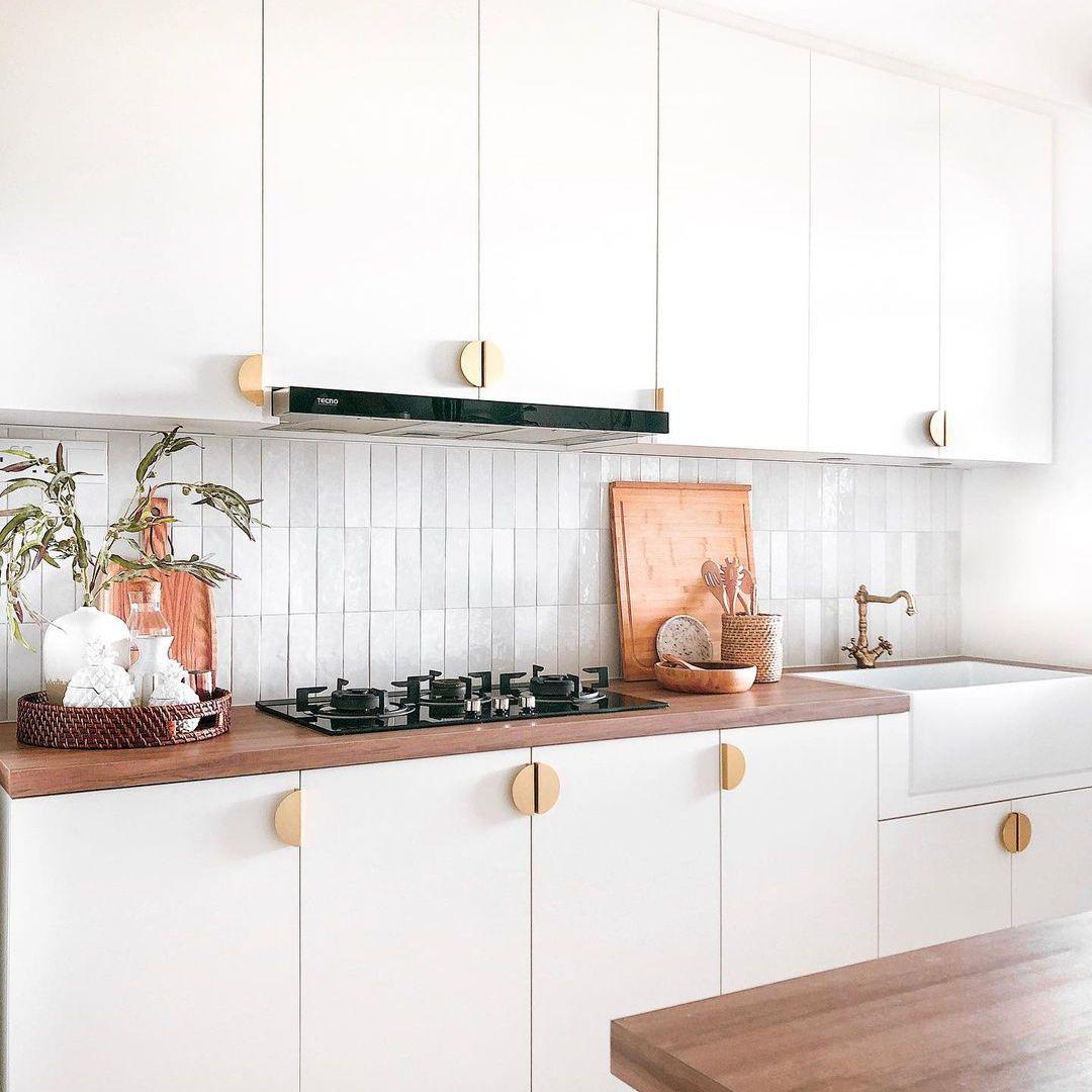 White kitchen with gray tile