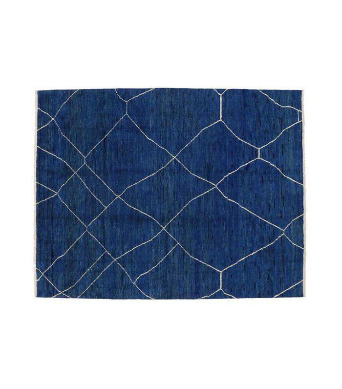 Contemporary Blue Moroccan Style Area Rug - 10'4