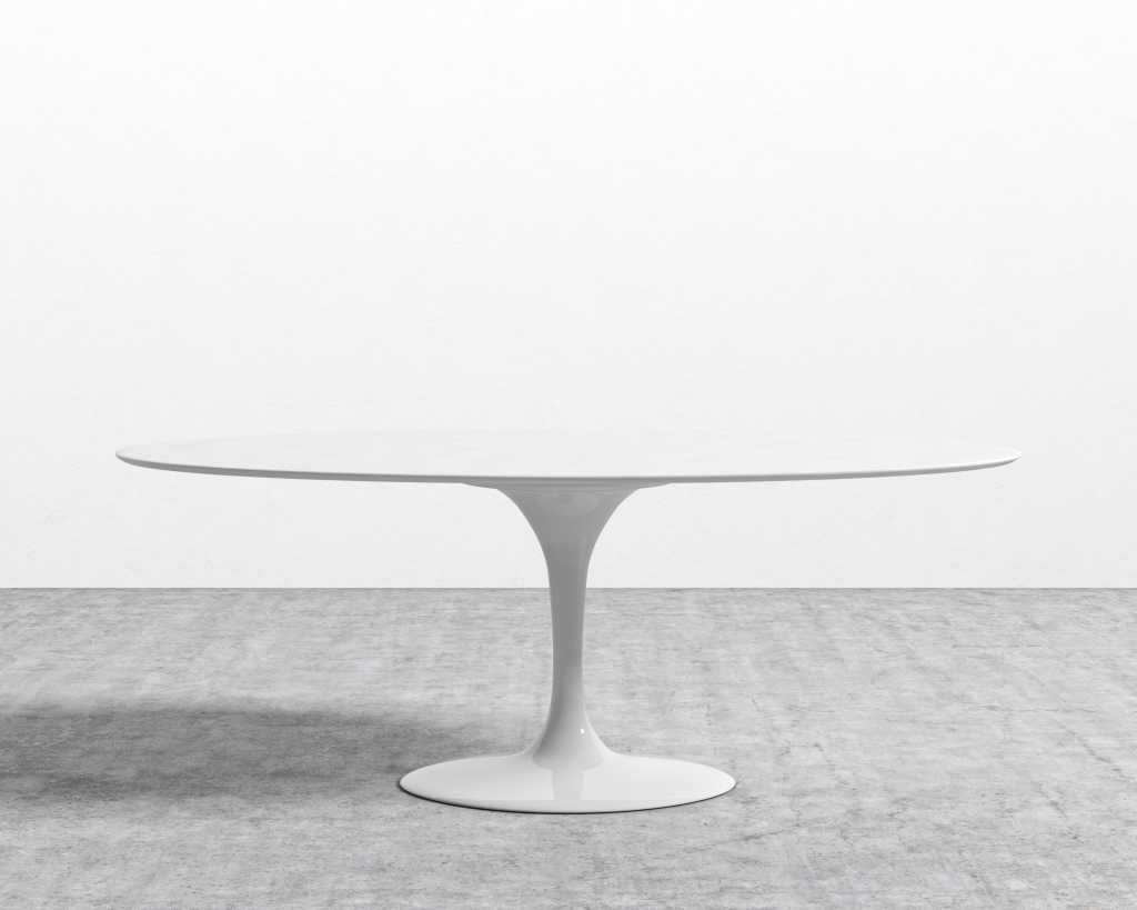 white lacquer oval table