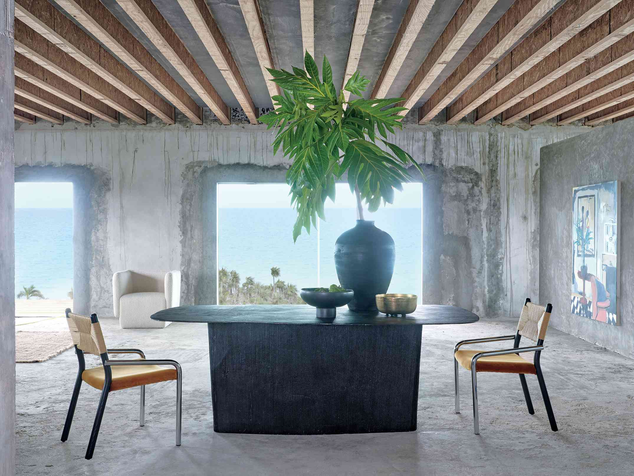 lenny kravitz x cb2 - dining table and chairs