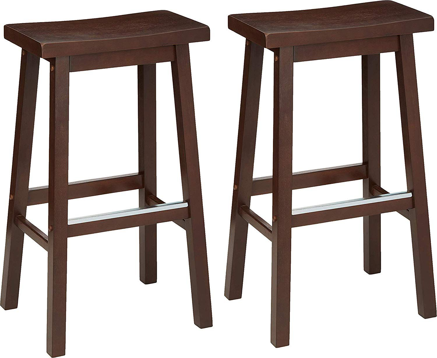 Classic Solid Wood Saddle-Seat Kitchen Counter Stool