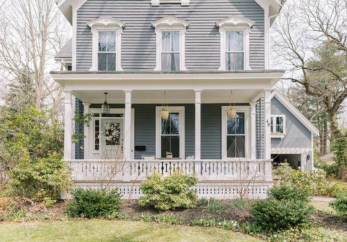 what is a veranda blue victorian home