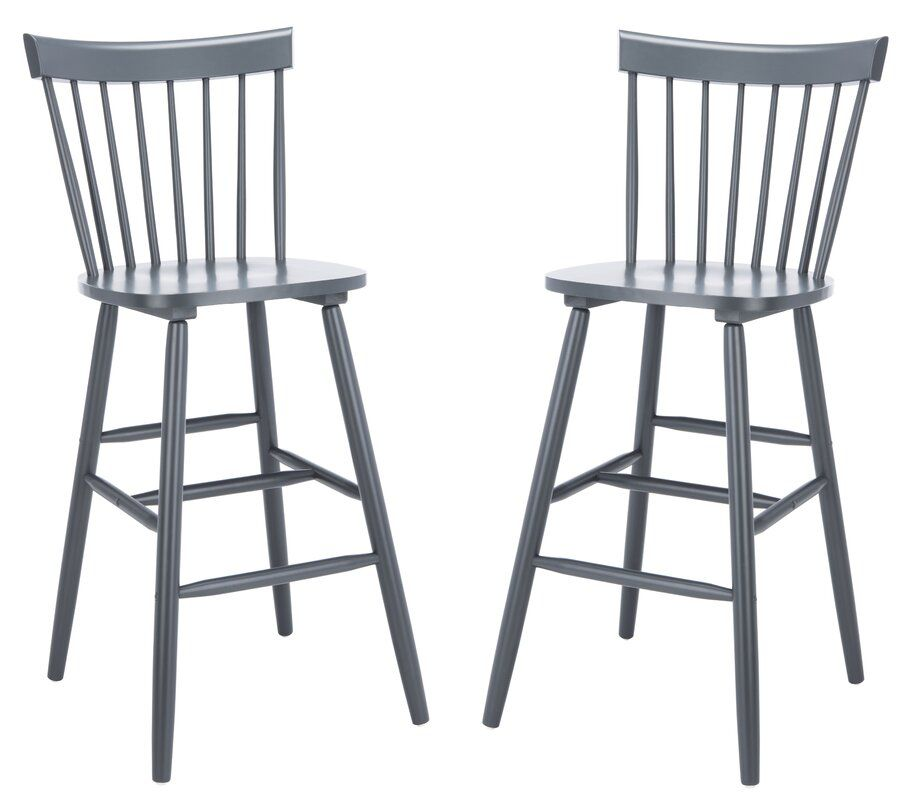 Two gray barstools, which are currently for sale at AllModern