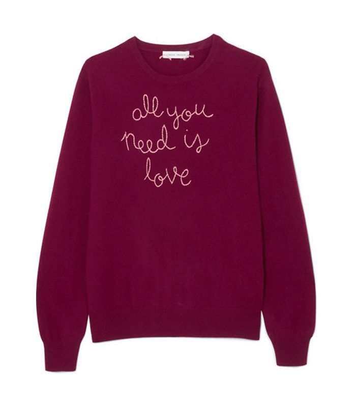 All You Need Is Love Embroidered Cashmere Sweater