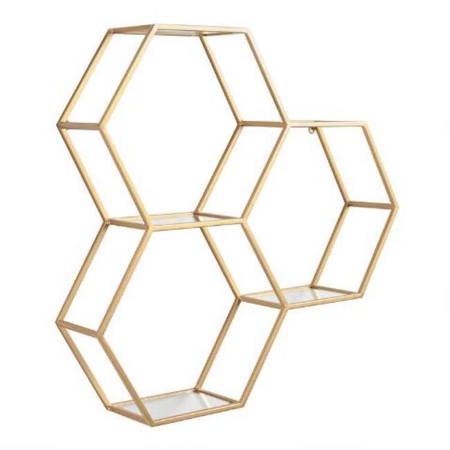 Gold honeycomb shelf