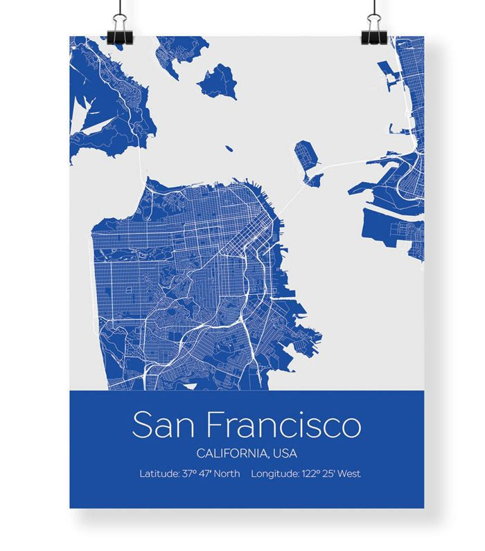 Massive Wanderlust San Francisco Map Wall Art Prints